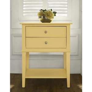 Franklin Wooden Side Table In Yellow With 2 Drawers