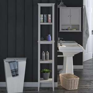Franklin Wooden Storage Tower In Grey
