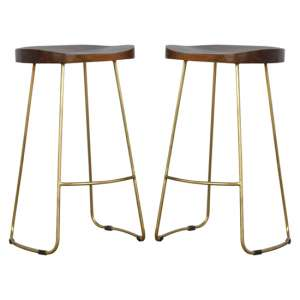 Frankston Chestnut Wooden Bar Stools With Gold Metal Legs In Pair