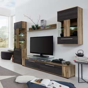 Frantin Living Room Set In Walnut With LED Lighting
