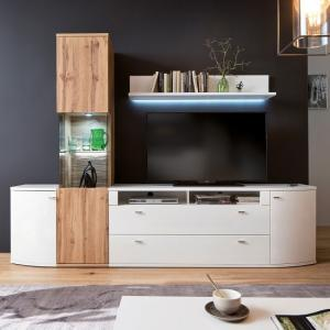 Franzea Living Room Set 1 In White Gloss Fronts And Oak With LED