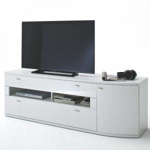 Franzea Wooden TV Stand In White Gloss Fronts With 2 Drawers