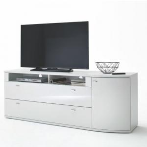 Franzea TV Stand In White Gloss Fronts With 1 Door And 2 Drawers