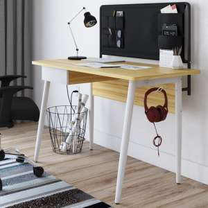 Freemont Wooden Computer Desk In Light Oak And White