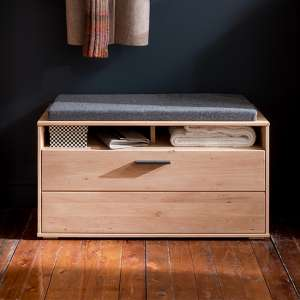 Frejus Wooden Seating Bench With Shoe Storage In Planked Oak