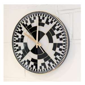 Frelick Wall Clock In Black And White With Checkers Design
