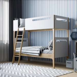 Fremont Contemporary Wooden Bunk Bed In White