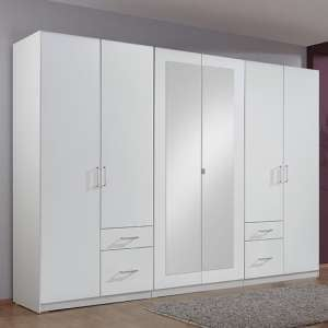 Fresh Wardrobe White 4 Doors 2 Mirror Doors 4 Drawers
