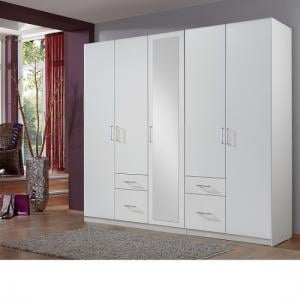Fresh Wardrobe White 4 Doors 1 Mirror Door 4 Drawers