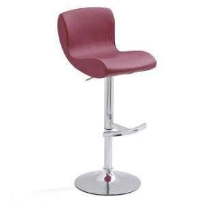 Fresh Bar Stool Bordeaux Faux Leather With Round Chrome Base