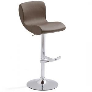 Fresh Bar Stool In Brown Faux Leather With Round Chrome Base
