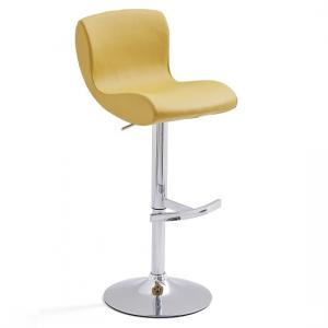 Fresh Bar Stool In Curry Faux Leather With Round Chrome Base