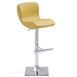Fresh Bar Stool In Curry Faux Leather With Square Chrome Base