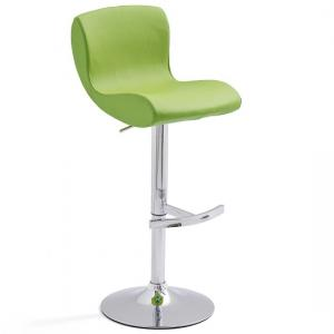 Fresh Bar Stool In Green Faux Leather With Round Chrome Base
