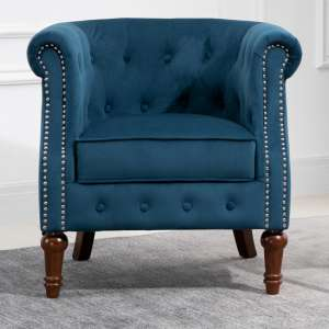 Freya Fabric Upholstered Accent Chair In Blue