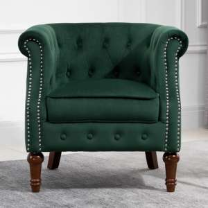 Freya Fabric Upholstered Accent Chair In Green