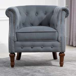 Freya Fabric Upholstered Accent Chair In Grey
