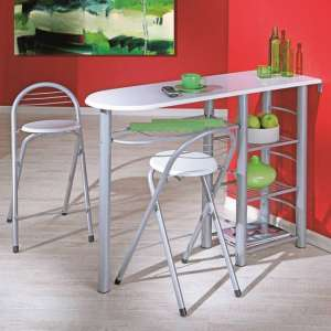 Frida Bistro Set In High Gloss White With Metal Frame