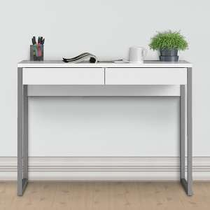 Frosk High Gloss 2 Drawers Computer Desk In White