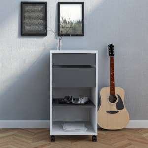Frosk Mobile Office Pedestal In White And Grey With 2 Drawers