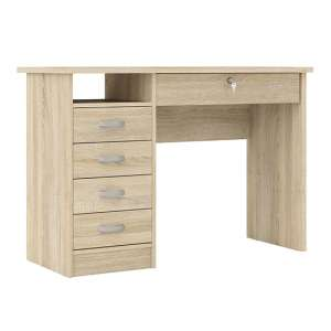 Frosk Wooden 5 Drawers Computer Desk In Oak