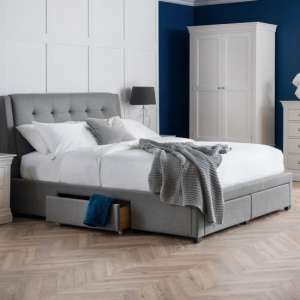 Fullerton Linen Super King Size Bed In Grey With 4 Drawers