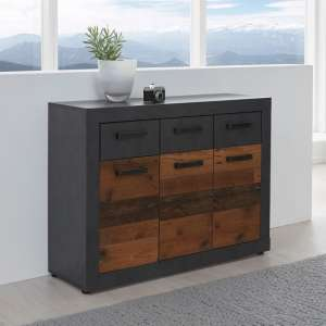 Saige Compact Wooden Sideboard In Graphite Grey And Old Wood