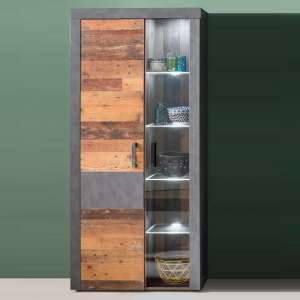 Saige Display Cabinet In Old Wood And Graphite Grey With LED