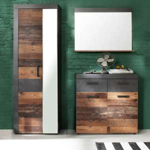 Saige Hallway Furniture Set 2 In Old Wood And Graphite Grey