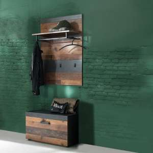 Saige Hallway Stand In Old Wood And Graphite Grey