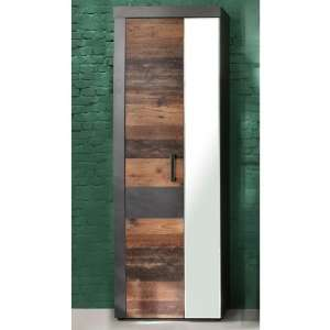 Saige Hallway Mirrored Wardrobe In Old Wood And Graphite Grey