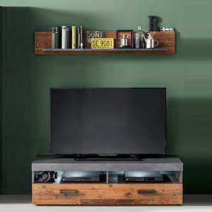 Saige TV Stand And Wall Shelf In Old Wood Graphite Grey With LED