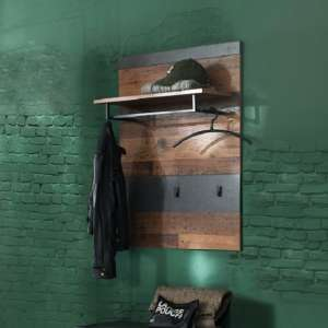 Saige Wall Mounted Coat Rack In Old Wood And Graphite Grey