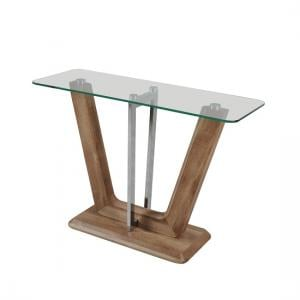 Furio Console Table In Clear Glass With Chrome And Wooden Base
