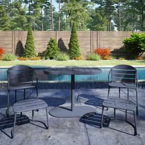 Cosco Steel Set Of 5 Patio Bistro Set In Grey