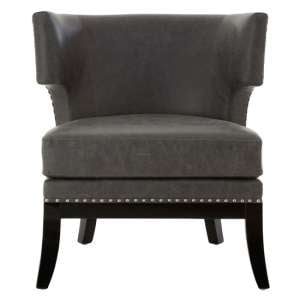 Furud Townhouse Faux Leather Bedroom Chair In Grey