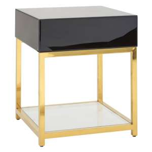 Furud Townhouse Glass End Table In Black