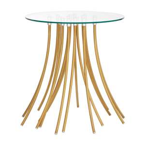 Furud Townhouse Glass Side Table With Gold Metal Legs