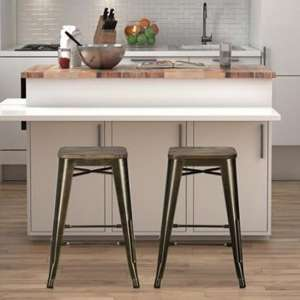 Fusion Bronze Metal Backless Counter Stool In Pair