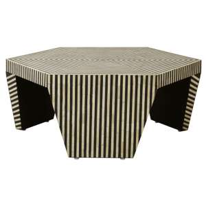 Fusion Hexagon Buffalo Bone Wooden Coffee Table