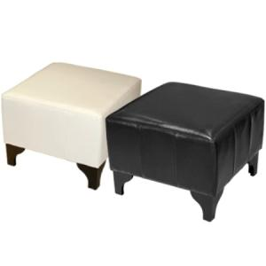 Barkley Foot Stool In Black Faux Leather With Wooden Legs