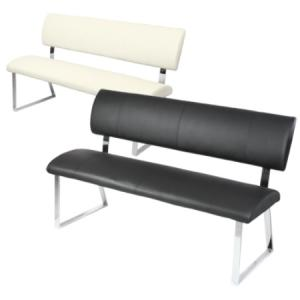 Triple Diner Bench In Faux Leather With Metal Legs