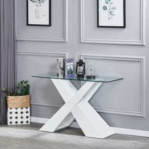 Gabriella Clear Glass Console Table With White Gloss Base