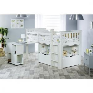 Gabriella Mid Sleeper Bed In White With Storage And Desk