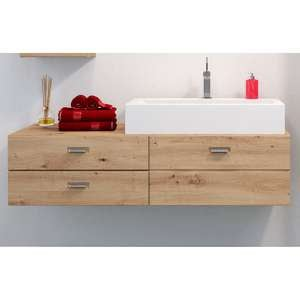 Gaep Wooden Wall Hung Vanity Unit With Basin In Artisan Oak