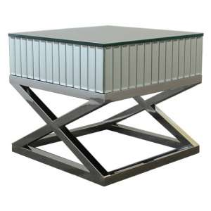 Gala Mirrored Wooden Side Table With Silver Stainless Steel Legs