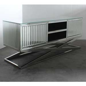 Gala Mirrored Wooden TV Stand In Silver