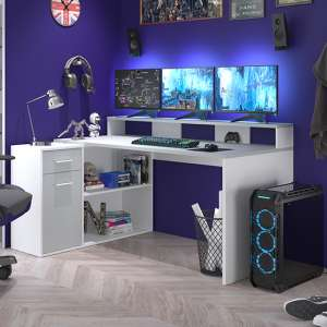 Gamer Wooden Computer Desk With Drawers In Light Grey And White