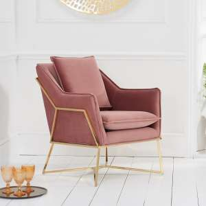 Gamma Velvet Accent Lounge Chair In Pink With Brass Frame