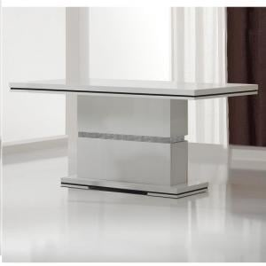 Garde Dining Table In White Gloss And Diamante Design